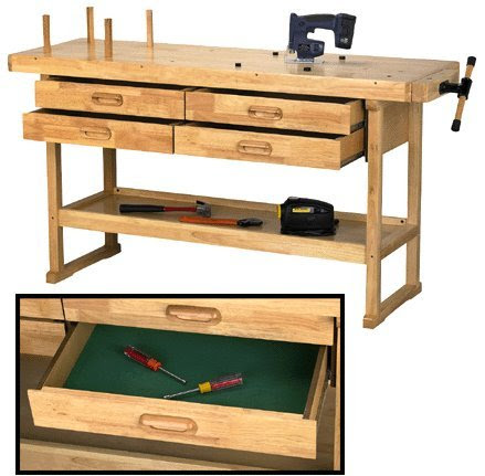 Cheap Workbench Windsor Design 60 Hardwood Workbench With 4 Drawers