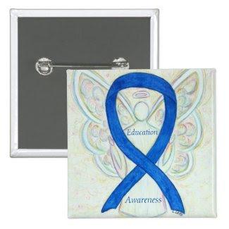 Education Angel Blue Awareness Ribbon Art Pin