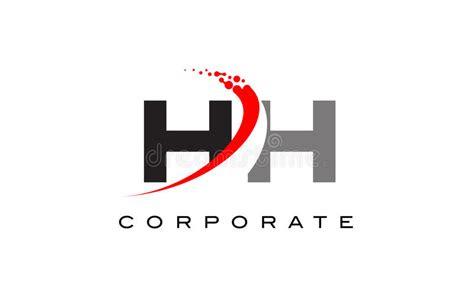 hh modern letter logo design  swoosh stock