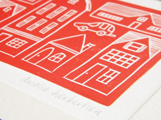 Lino Block Print - Houses