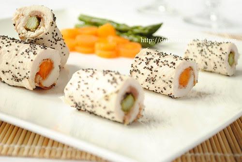 Involtini di Pollo con Asparagi e Carote-Chicken Roulades with  Asparagus and Carrots