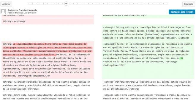 Párrafo en el que Mercado explica la versión sobre el segundo apellido de la madre de Pablo Iglesias y el supuesto nombre de la cuenta de Las Granadinas.