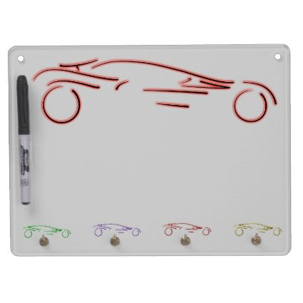 Stylized Sportscar - glowing red neon auto design Dry Erase Boards