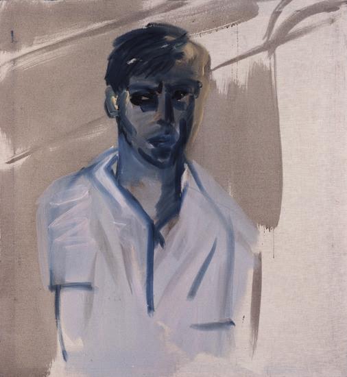 blastedheath:  Rainer Fetting (German, b. 1949), Selbst mit Mauer [Self with wall], 1977. Emulsion paint on cotton cloth, 116 x 105cm.