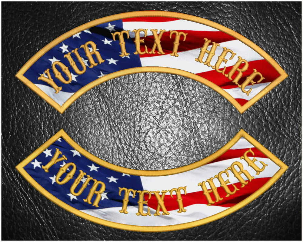 CUSTOM EMBROIDERED 13\u0026quot; USA FLAG 1 ROCKER MC NAME PATCH TOP OR BOTTOM MOTORCYCLE  eBay