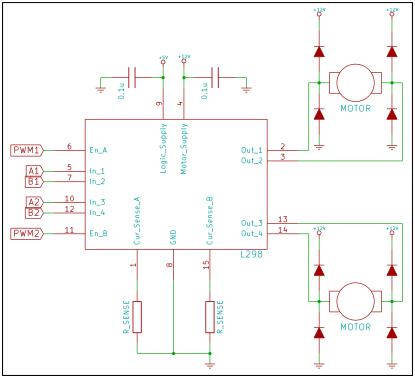 Typical application circuit for L298 as a dual H-bridge for DC motors