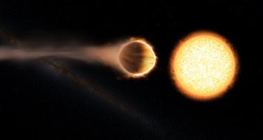 """<p>Imagen artística del planeta WASP 121b. La forma """"abombada"""" del planeta es debida a las intensas fuerzas de marea que ejerce la estrella. / Engine House VFX, At-Bristol Science Centre, University of Exeter</p>"""