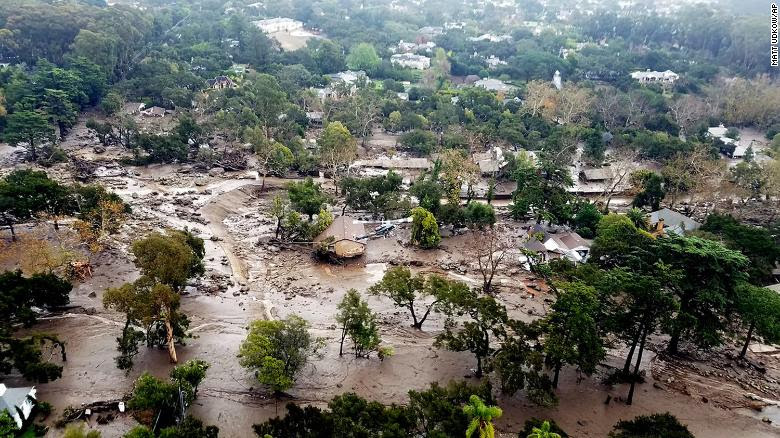 An aerial view of Montecito, California, shows mudflow and debris on Wednesday, January 10. Heavy rains unleashed deadly mudslides Tuesday that damaged or swept away dozens of homes in Southern California.