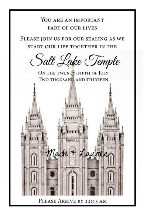 LDS Temple Wedding Ceremony Printable Invitation