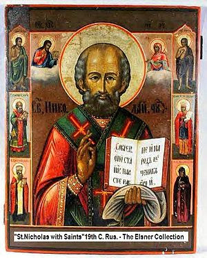 An example of Russian icons of St. Nicholas fl...