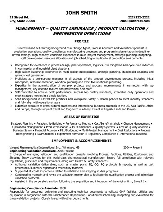 Example Resume Resume Format Quality Control Manager