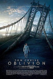 """A man, wearing a white jacket with a gun on his back, walks through a destroyed bridge. The tagline """"Earth is a memory worth fighting for"""" appears on the top while Tom Cruise's name, the title of the film, the rating and the rest of the credits appears on the bottom."""