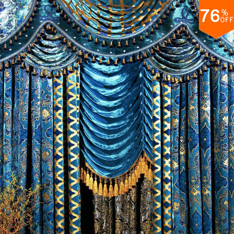 The Blind Fashion Living Room Curtain Peacock Blue Flannelet Bronzier Curtain The Finished