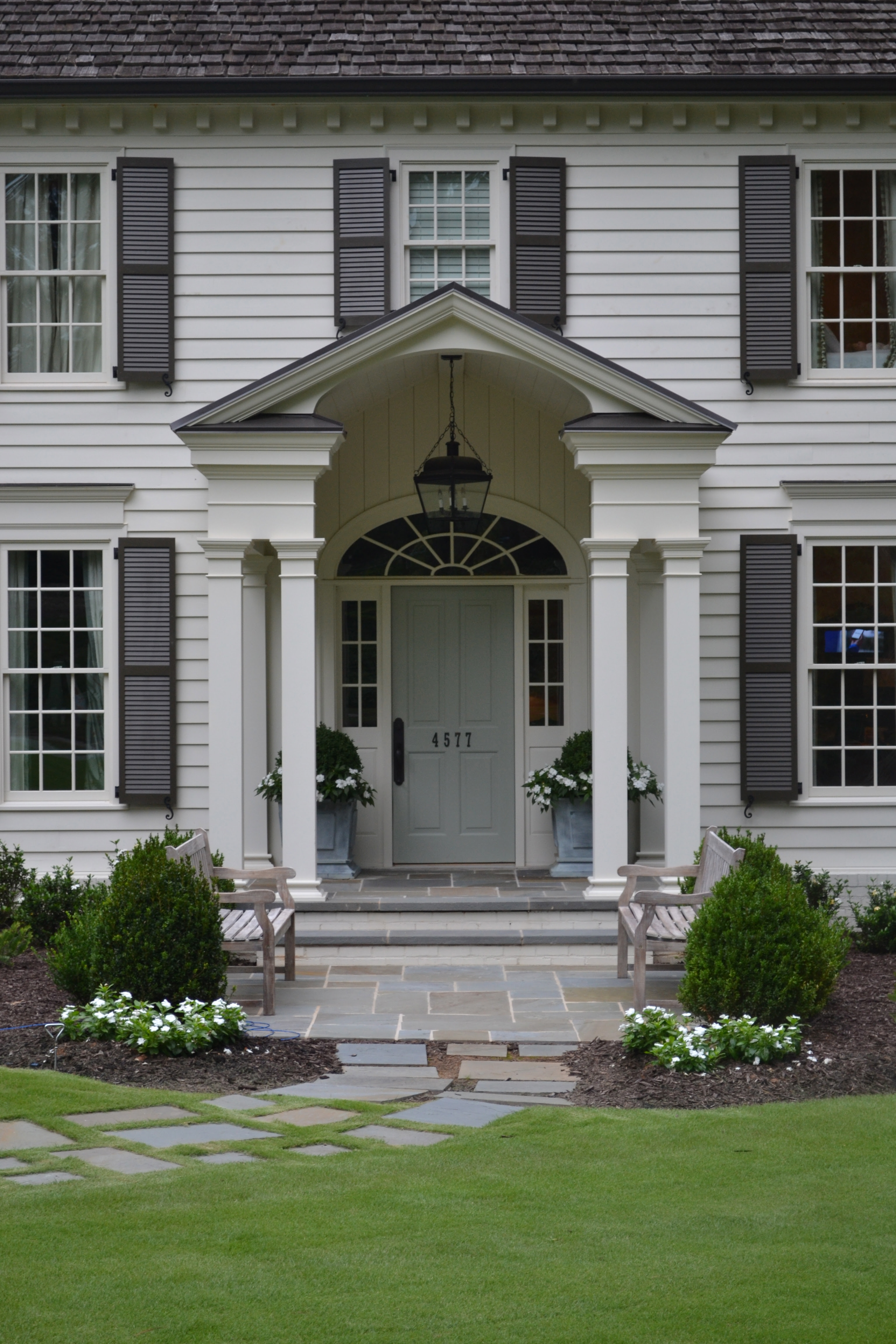Farrow and Blue Gray front door on Modern Country Style