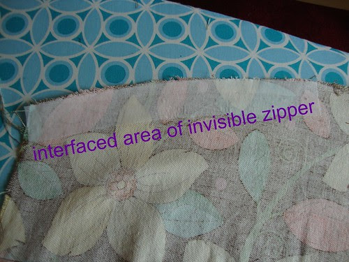 interfacing the zipper area