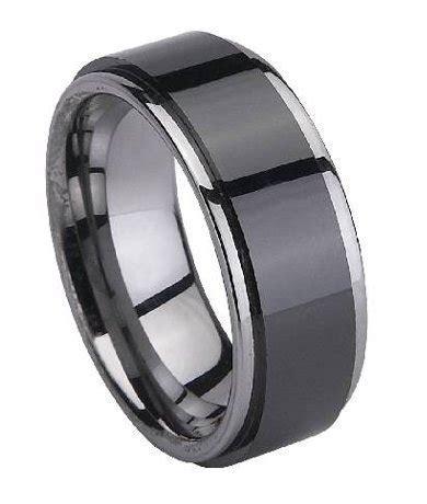 Men's Ring in Tungsten, Black Ceramic Overlay, Polished