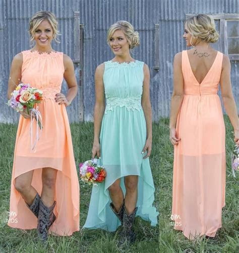 2019 New Cheap Country Bridesmaid Dresses Bateau Backless