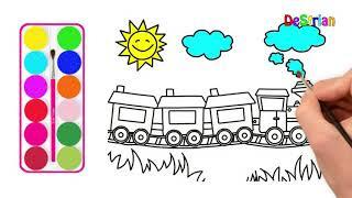 Cara Menggambar Dan Mewarnai Kereta Api Video In Mp4hd Mp4full Hd