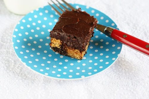 Nutter Butter Brownies with Chocolate-Peanut Butter Ganache ::: bake at 350 blog