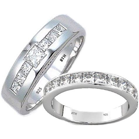 His And Hers Matching Sterling Silver Wedding Bands