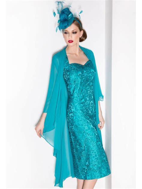 Cabotine 5006216 Lace Dress With Chiffon Coat Turquoise