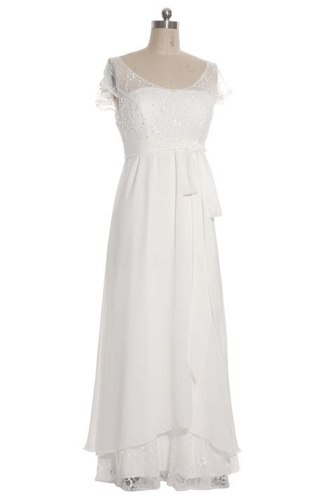 Simple V Neck Chiffon Long Maternity Bridal Gown with