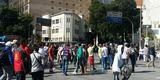 Manifestantes deslocaram, após as confusões na Afonso Pena e Rua dos Carijós, para a Avenida Amazonas, no entroncamento com a Rua dos Tamóios