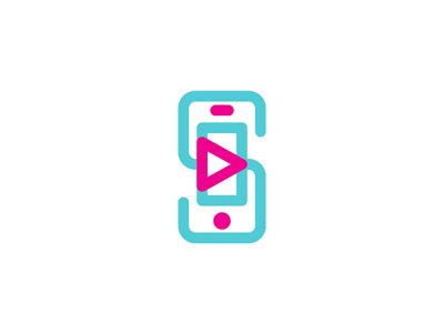 phone play social video app logo design symbol