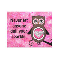 Cute Owl with Inspirational Sparkle Quote Canvas Print