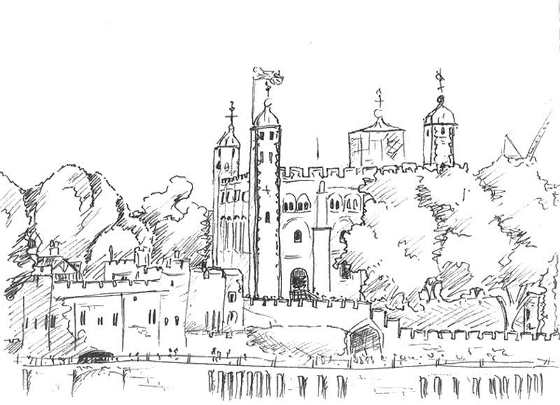 Disegno Da Colorar Antistress Londra Torre Di Londra 9