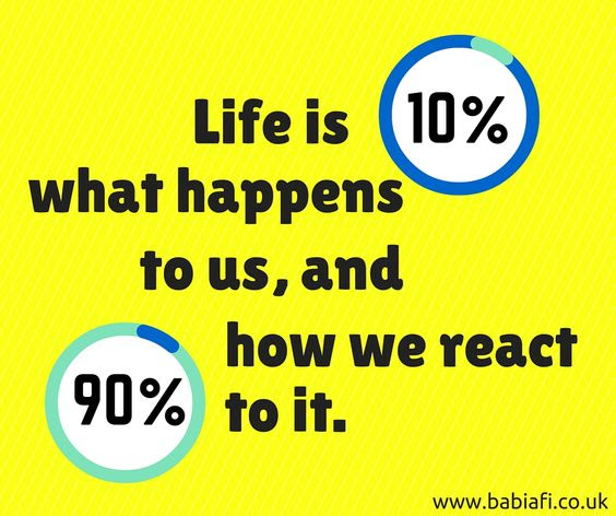 Life is 10% what happens to us and 90% how we react to it.