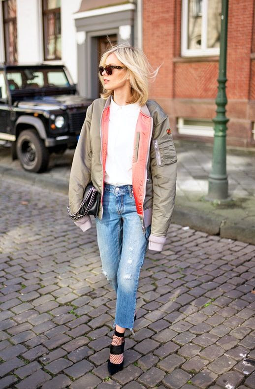 Le Fashion Blog Blogger Style Sunglasses Green Bomber Jacket White Top Ripped Jeans Mesh Socks Black Wide Strap Heels Via Lisa Rvd