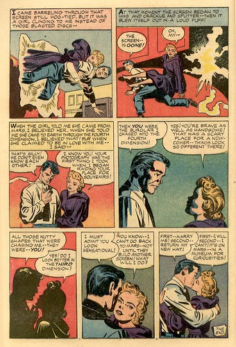 1950's cartoon girlfriend rescues her scientist boyfriend from the Fourth Dimension in comics by Jack Kirby