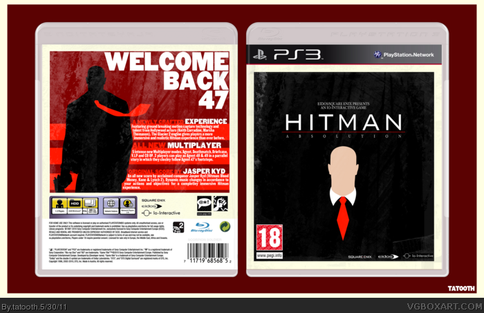 Hitman Absolution PlayStation 3 Box Art Cover by tatooth