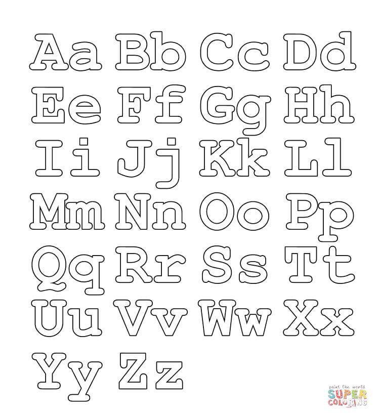 Ausmalbild Ubungsblatt Mit Ganzem Alphabet Gross Und Kleinbuchstaben Ausmalbilder Kostenlos Zum Ausdrucken