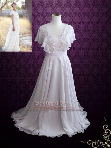 Beach Whimsical Grecian Chiffon Wedding Dress with