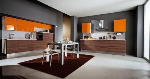 Modernas y sofisticadas cocinas en color naranja-02