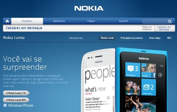 Nokia Brasil faz divulgação dos modelos Lumia 710 e Lumia 800, com Windows Phone (Foto: Reprodução/Nokia Brasil)