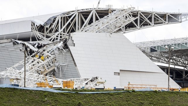 Part of grandstand collapsed at Itaquerao Stadium in Sao Paulo