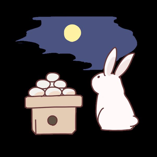 月と団子とウサギのイラスト かわいいフリー素材が無料の