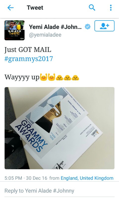 Yemi Alade's Invitation To 2017 Grammy Awards [PICS]