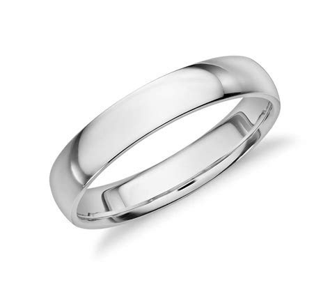 Mid weight Comfort Fit Wedding Band in 14k White Gold (4mm