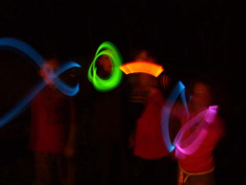 glowsticks at night