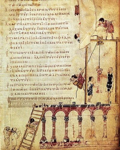 """Μικρογραφία σε χειρόγραφο.  Ανύψωση κίονα με τροχαλίες.  (©Κατάλογος έκθεσης,""""Ωρες Βυζαντίου"""")"""