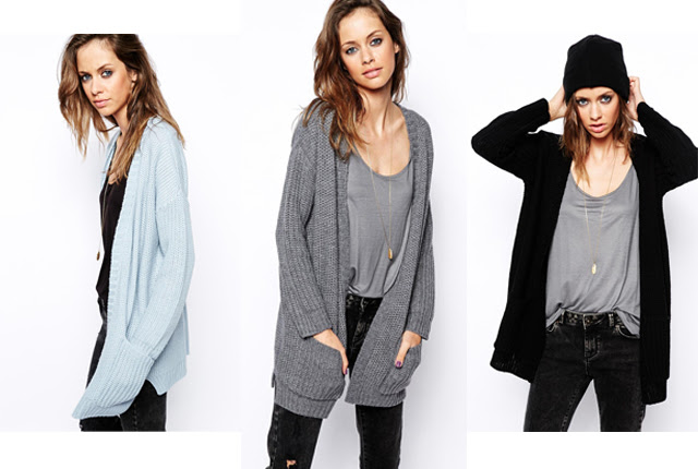 ASOS Ultimate Chunky Cardigan, knitted cardigan inspiration. fall autumn winter 2014 '14 inspiration. grey, black, pastel blue, light blue, pale blue
