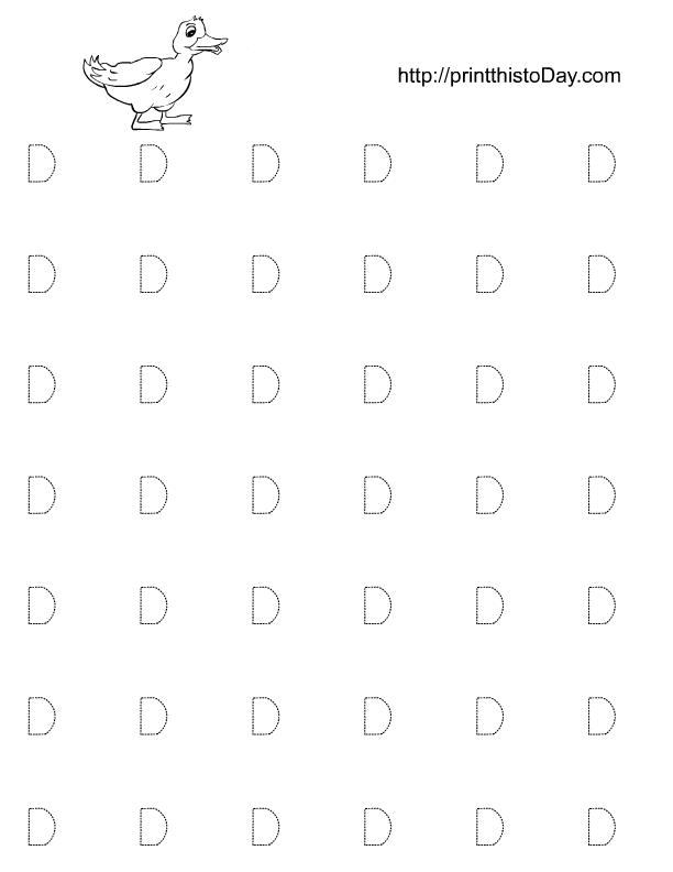 Alphabet D Tracing Worksheets for Preschool and Kindergarten