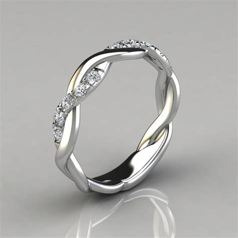 0.15Ct Twist Round Cut Wedding Band Ring   Forever Moissanite