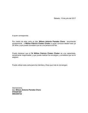 Carta De Recomendacion Personal Y Laboral T Carta De