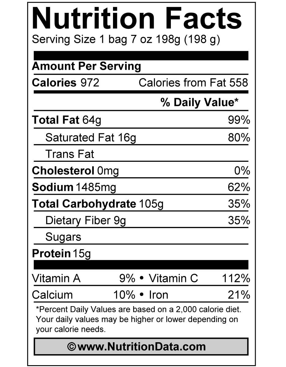 potato chips nutrition_facts_label
