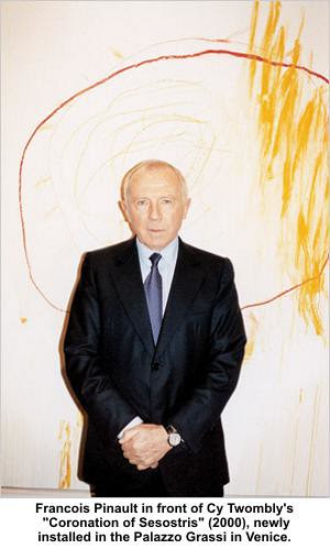 "Francois Pinault in front of Cy Twombly's ""Coronation of Sesostris"" (2000) by artimageslibrary"